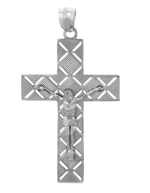White Gold Crucifix Pendant - The Power Crucifix