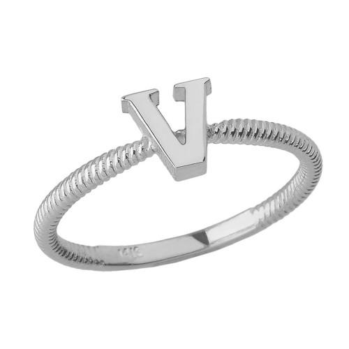 Sterling Silver Alphabet Initial Letter V Stackable Ring