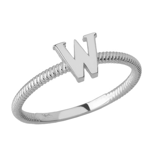 Sterling Silver Alphabet Initial Letter W Stackable Ring