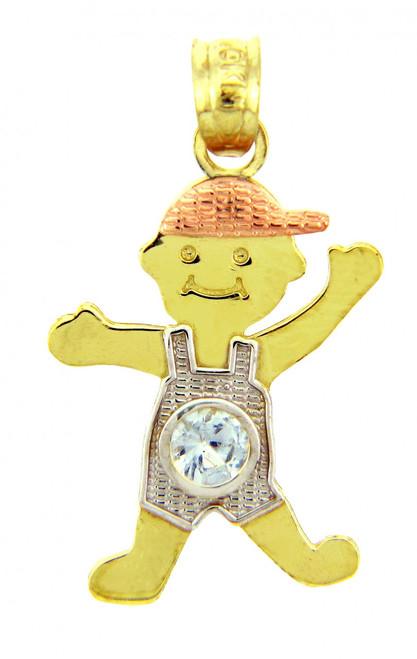 Tri Tone Gold Boy Birthstone Charm w/ Light Blue CZ