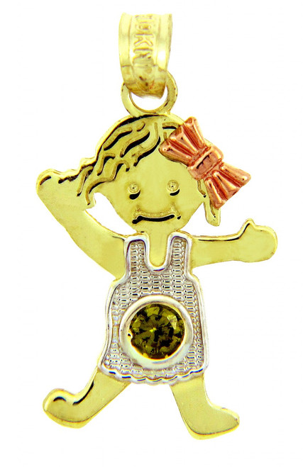 Girl Tri ToneGold Girl Birthstonene Charm w/ CZ Light Green Gem