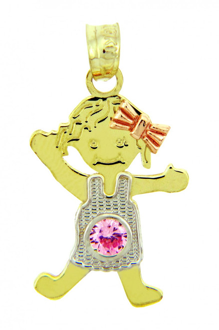 Tri Tone Gold Girl June October Birthstone Charm