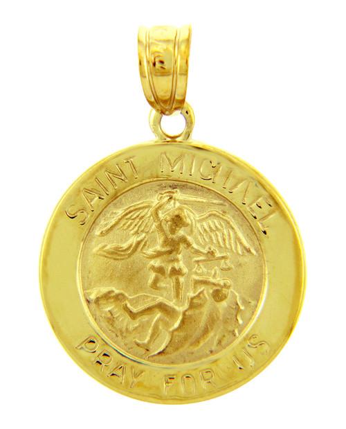 Gold Religious Pendants - The Saint Michael Pray For Us Yellow Gold Pendant