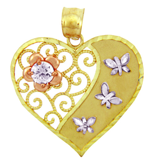 Gold Pendants - The Butterfly Heart Gold Pendant