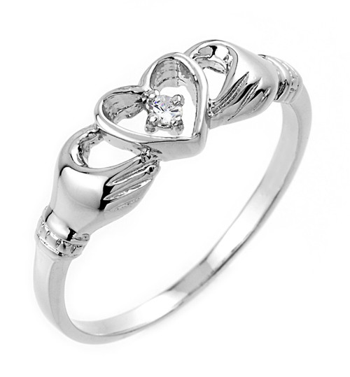 Gold Claddagh Ring - White Gold Claddagh Ring with Diamond