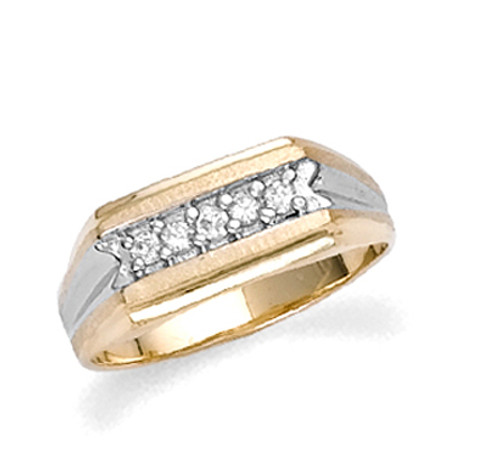 Gold Two-Tone Cubic Zirconia Mens Ring
