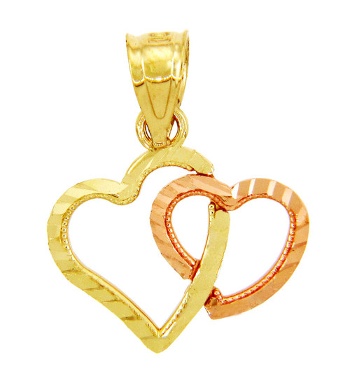 Gold Pendants - Gold Two Heart Hug Pendant in Two Tone