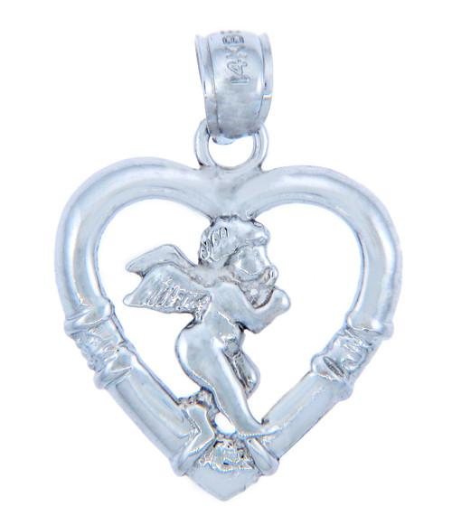 Love and Heart Silver Pendants - Silver Cupid Heart Pendant