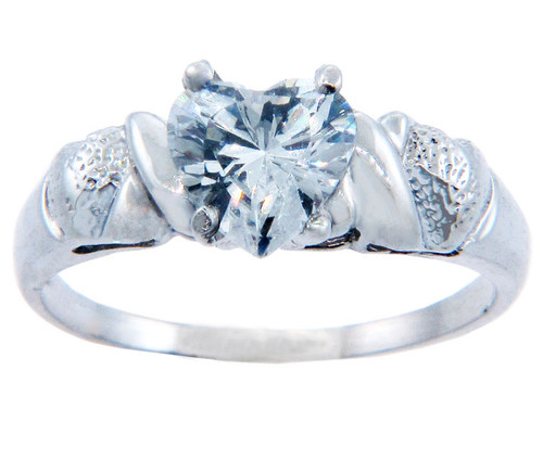 Ladies CZ Rings - Aqua Cubic Zirconia Heart Ring in Sterling Silver