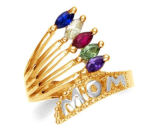 Two-tone gold cz birthstone Mom ring in 10k or 14k.