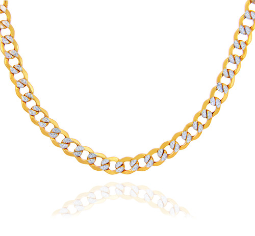 Gold Chains: Hollow Cuban Pave 10K Gold Chain 4.78mm