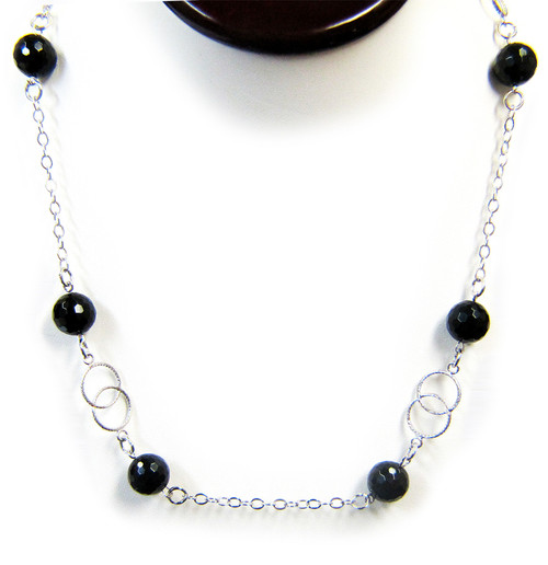 Gemstone Necklaces - Twilight Onyx Long Necklace in Sterling Silver 44 Inch