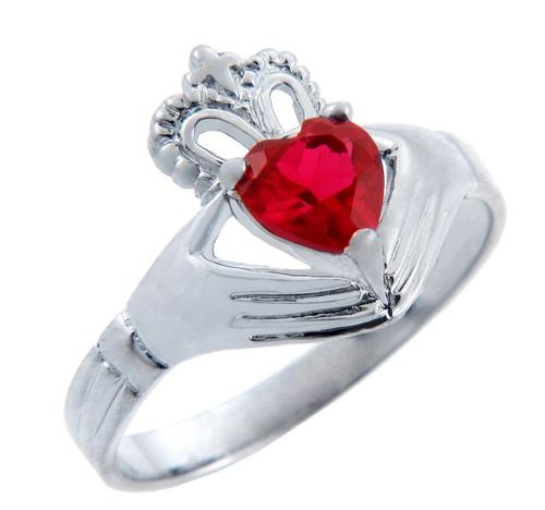 Silver Claddagh Ring with Garnet Birthstone.