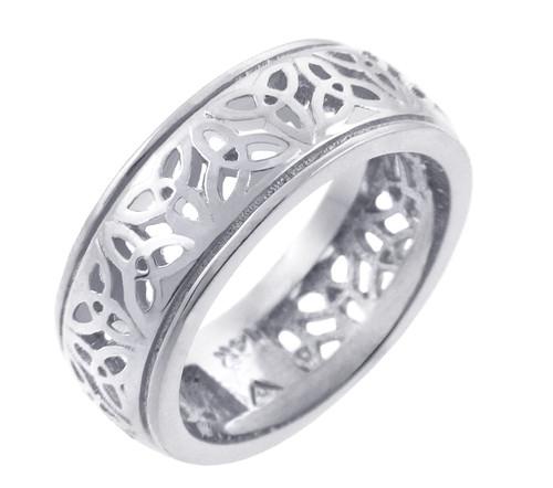 White Gold Celtic Trinity Knot Wedding Ring