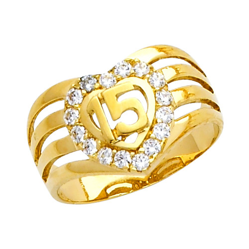 """""""15 Anos"""" CZ Yellow Gold Ring"""