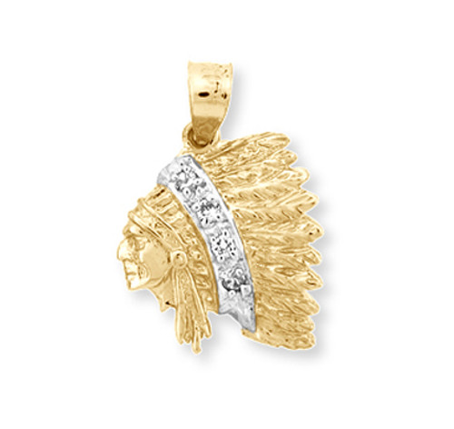 Indian chief head with cz in 10k or 14k yellow gold.