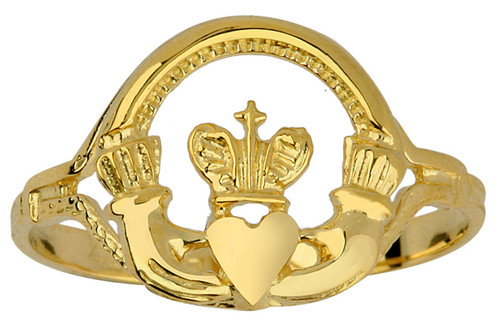 Gold Claddagh Ring Ladies with Cross.  Available in 10k or 14k .