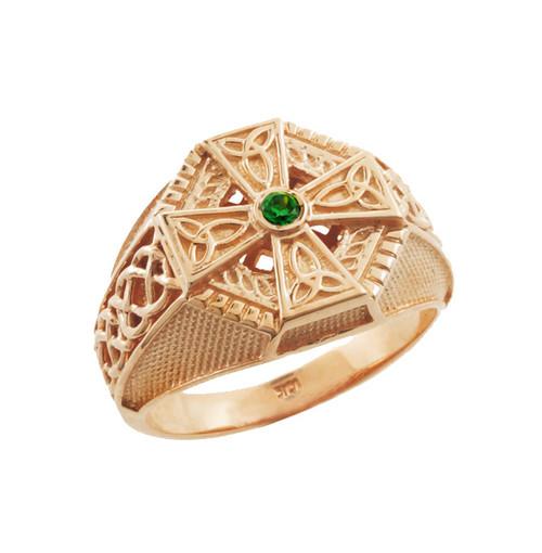 Rose Gold Celtic Cross Green CZ Mens Emerald Ring