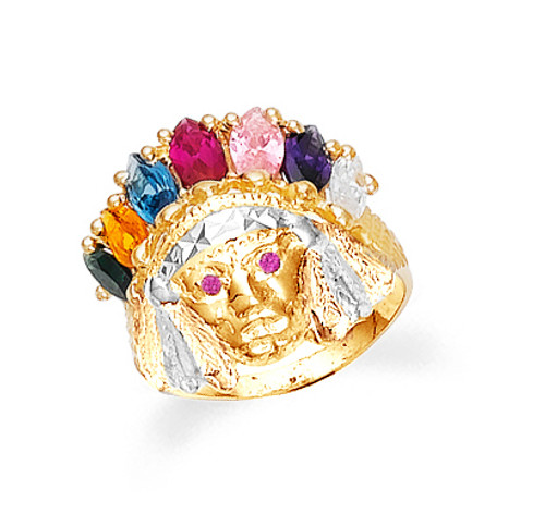 Gold Indian Head Cubic Zirconia Ring