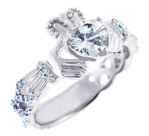 18K White Gold Diamond Claddagh Ring With 0.4 Ct  White Topaz