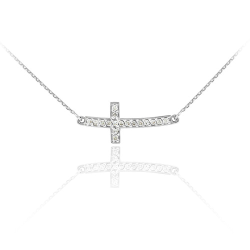 Sideways Curved Cross Necklace: 14K White Gold Diamond Sideways Curved Cross Necklace