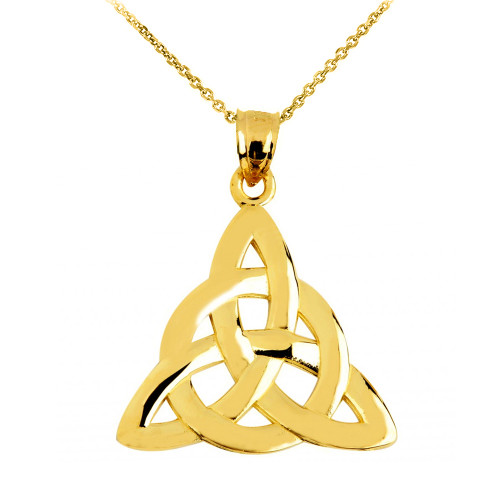 Yellow Gold Trinity Knot Pendant Necklace