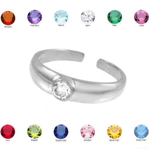 Solid 925 Sterling Silver Birthstone Cz Toe Ring