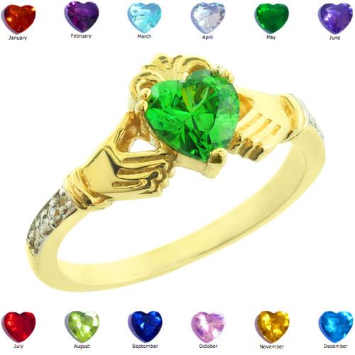 Gold Claddagh CZ Birthstone Ring with Diamonds