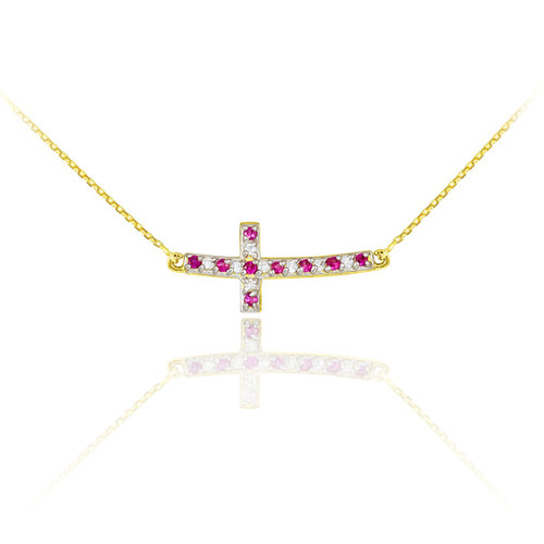 14k Gold Diamond and Ruby Sideways Curved Cross Necklace