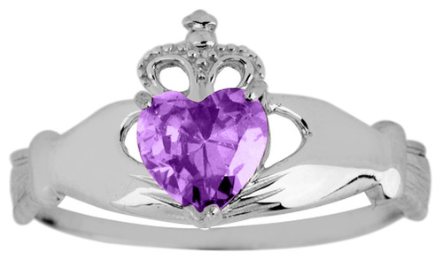 White Gold Claddagh Ring Ladies with Amethyst Birthstone.  Available in your choice of 14k or 10k White Gold.