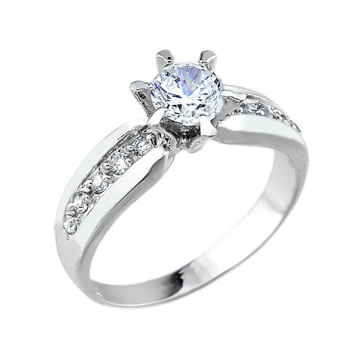 10k White Gold Engagement Solitaire Ring