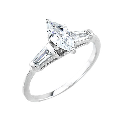 10k White Gold Marquise Cubic Zirconia Engagement Ring