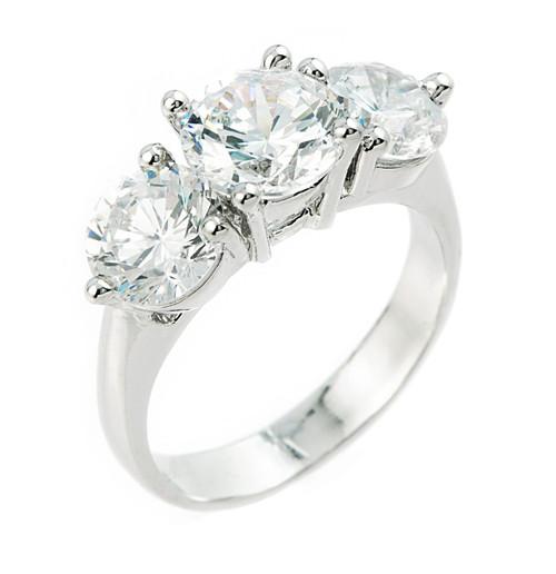 10k White Gold 3 Stone CZ Engagement Wedding Ring