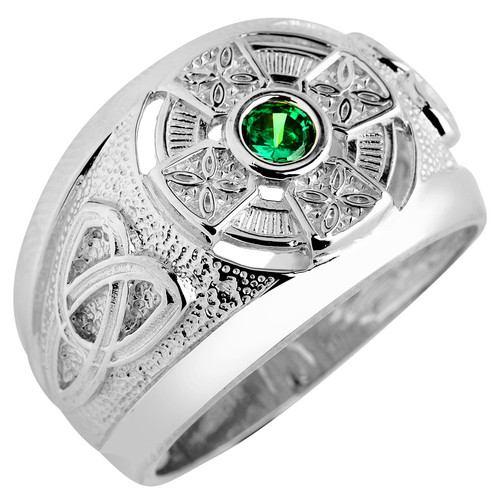 Silver Celtic Mens CZ Ring with Emerald