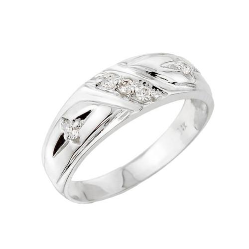 Men's White Gold Diamond Wedding Band