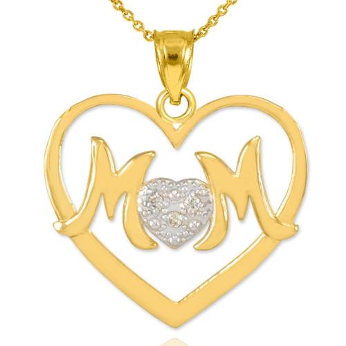 """14K Gold Diamond Pave Heart """"MOM"""" Pendant Necklace"""