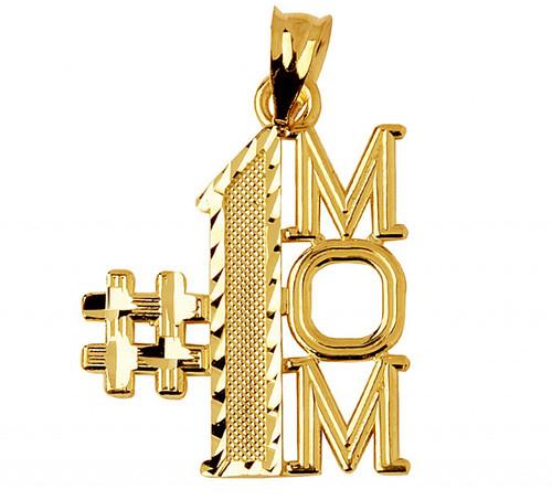 Gold #1 Mom Charm Pendant