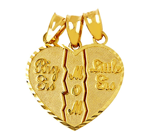 3 piece mom big sis little sis heart pendant in gold.
