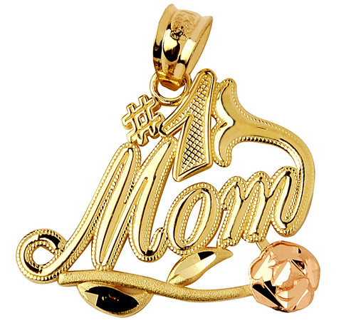 #1 Mom Gold pendant with Pink Flower