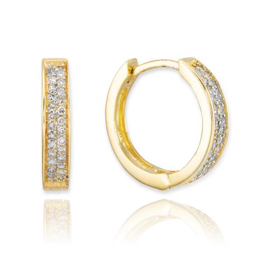 14k Gold Diamond Huggie Earrings