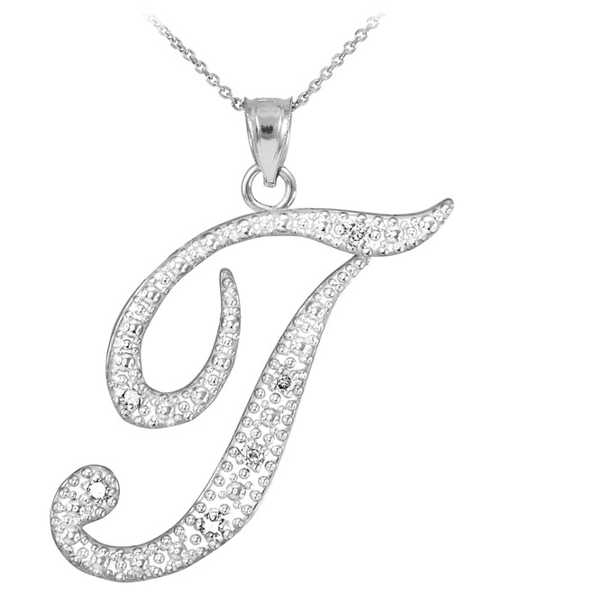 "14k White Gold Letter Script ""T"" Diamond Initial Pendant Necklace"