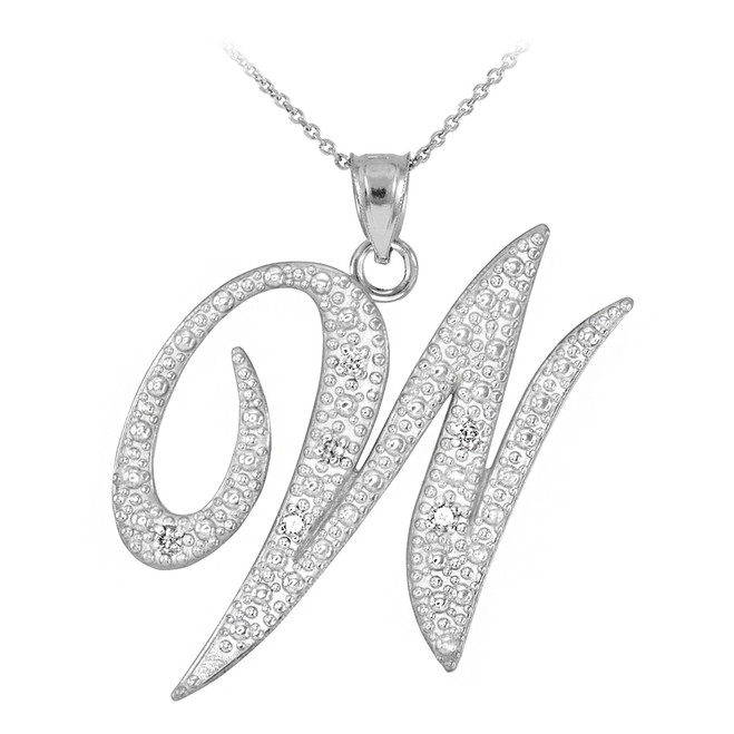 "Sterling Silver Letter Script ""W"" CZ Initial Necklace"