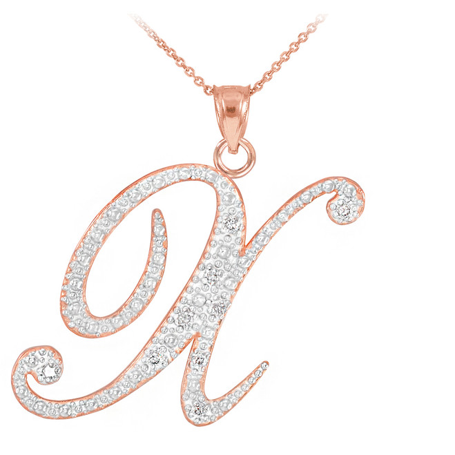 """14k Rose Gold Letter Script """"X"""" Diamond Initial Pendant Necklace"""