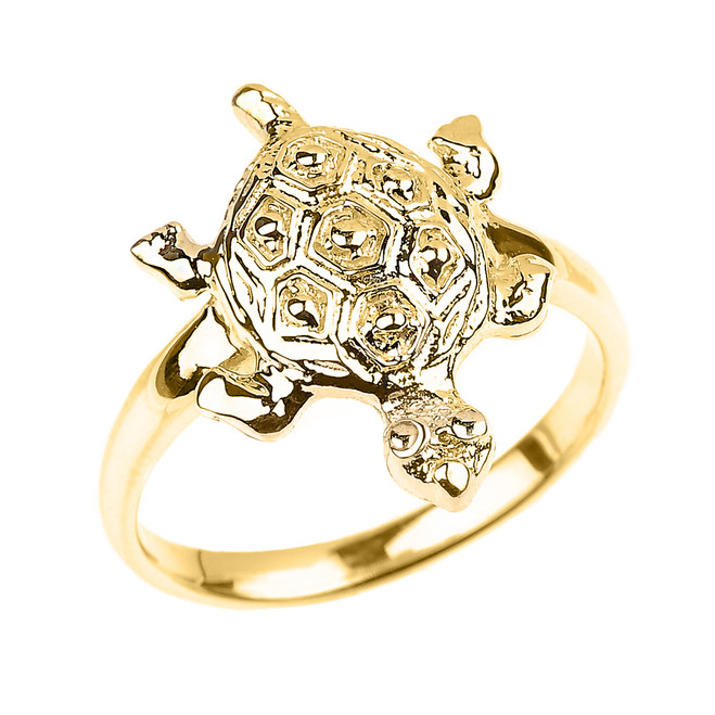 Solid Yellow Gold Turtle Ladies Ring