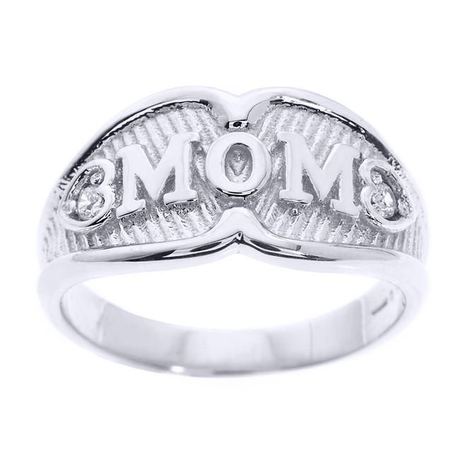 """Sterling Silver """"MOM"""" CZ Ring"""