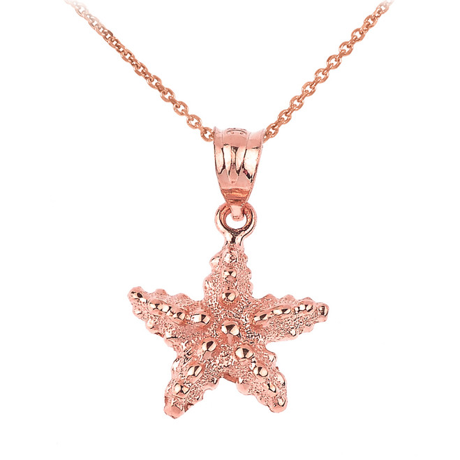Rose Gold Sea Star Charm Pendant