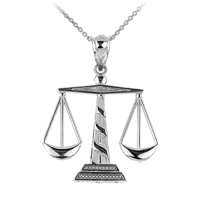 Sterling Silver Scales of Justice Pendant Necklace