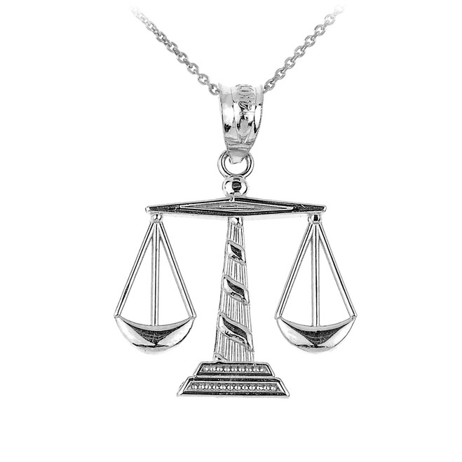 White Gold Scales of Justice Pendant Necklace