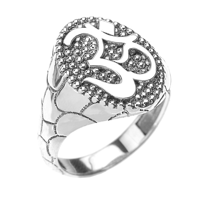 Sterling Silver Nugget Band Om/Ohm Men's Ring