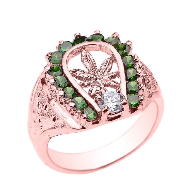 Rose Gold Horseshoe with Marijuana Leaf Cannabis Men's Ring